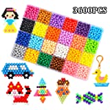 Water Fuse Beads Kit 24 Colors Spray Beads Sticky 3600 Refill Compatible Beads Various Bead Refill for Kids Beginners Activity (Color: Fuse Beads)