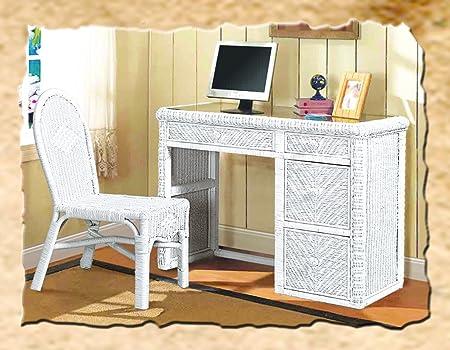 Santa Cruz Wicker Desk and Chair White