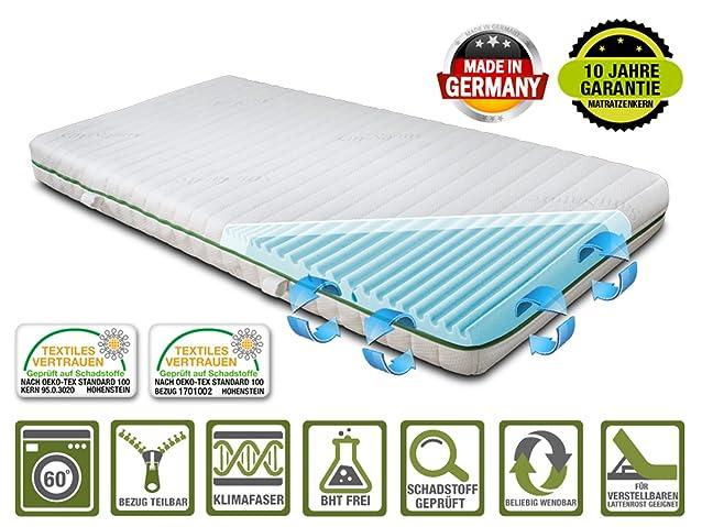 Materasso in schiuma fredda Ortholex con zona spalle Schulter+, made in Germany, rivestimento SaniNature KlimaFresh sfoderabile e lavabile, adatto anche per rete a doghe regolabile
