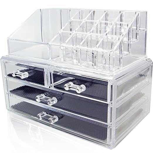 NILECORP Acrylic Jewelry & Cosmetic Storage Display Boxes Two Pieces Set.