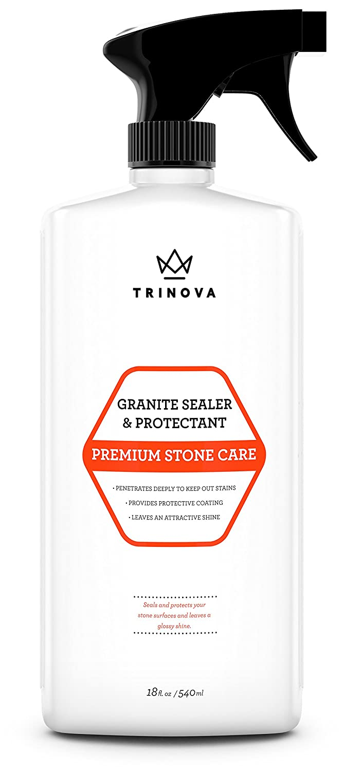 Granite Sealer & Protector - Best Stone Surface Protectant & Care Product - Easy Maintenance Method for Clean Countertops, Tile & Floors - No Streaks, Stains, Haze or Water Spots - 18 OZ - TriNova