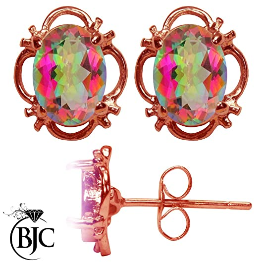 BJC® 9ct Rose Gold Natural Mystic Topaz 1.50ct Oval Filigree Stud Earrings Brand New with Studs Box
