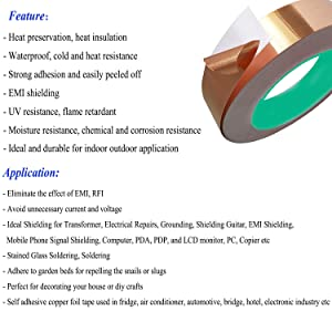 Copper Foil Tape 1 Inch x 33 Feet - Double Sided Conductive Adhesive for Guitar EMI Shielding, Paper Circuits, Stained Glass, Slug Repellent, Electrical Repairs, Grounding -1 Inch (Color: 33FT(L)-1IN(W))