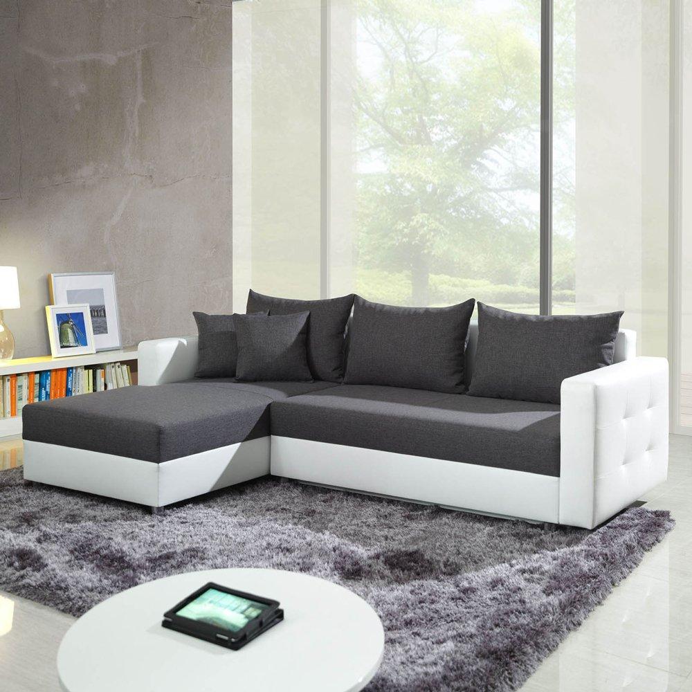 Polsterecke Sofa ARON mit Schlaffunktion Schlafsofa Schlafcouch Kunstleder Webstoff Bettfunktion  Kritiken und weitere Infos