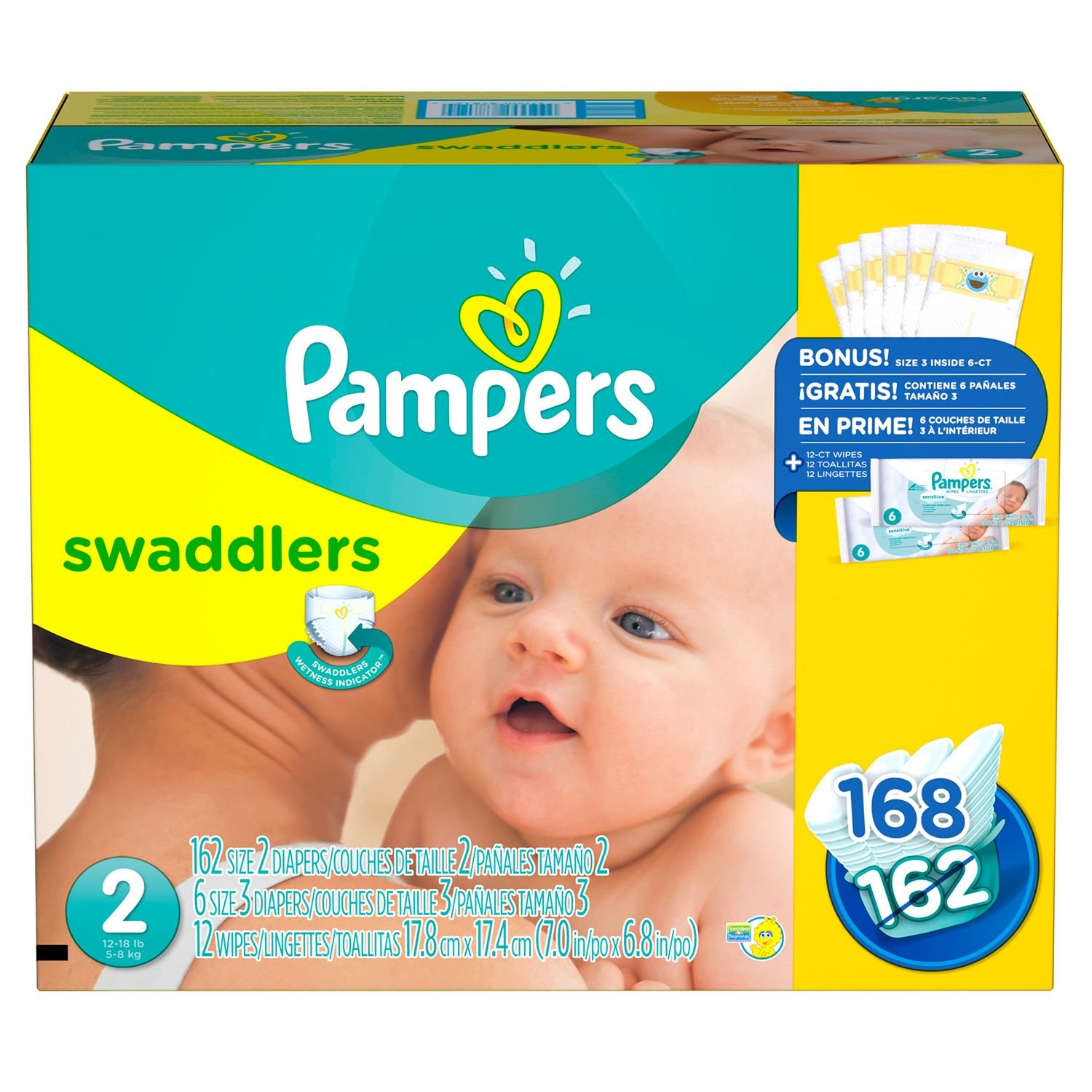 Pampers Swaddlers Diapers, Size 2 (12-18 lbs.), 162 ct.