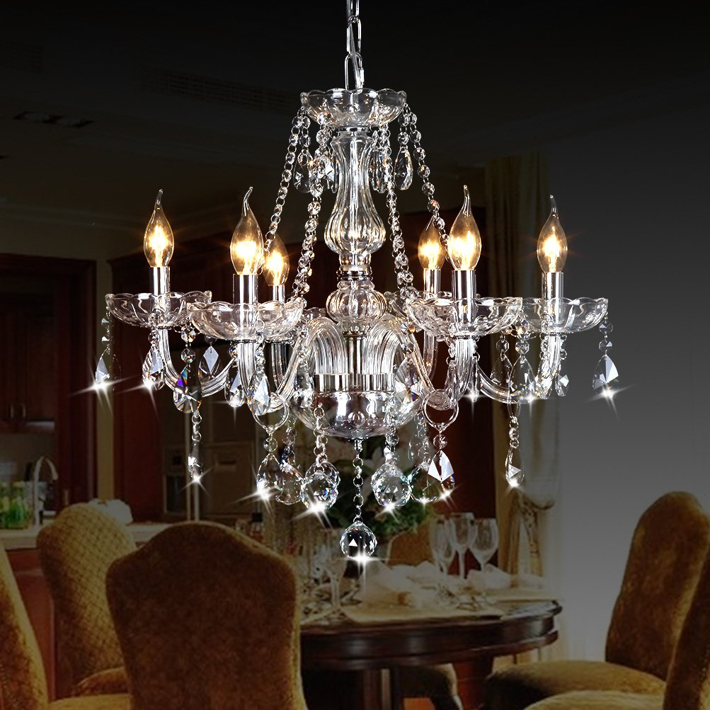 Ella Fashion Classic Vintage Crystal Candle Chandeliers Lighting 6 Lights Pendant Ceiling Fixture Lamp for Elegant Decoration D23.6