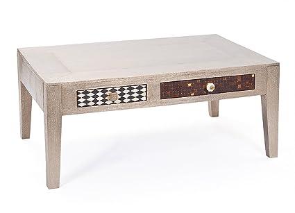 Links 85000055 Noida Table Basse avec 2 Tiroirs Argent 110 x 70 x 45 cm