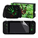 eXtremeRate The Bloody Cannabis Print Stickers Full Set Faceplate Skins +2Pcs Screen Protector for Nintendo Switch/NS Console & Joy-con Controller & Dock Protection Kit (Color: Bloody Cannabis)