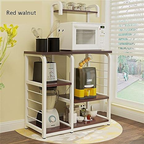 Artículos de uso doméstico 3 capas de soportes para hornos de microondas Electrodomésticos de cocina Rack de almacenamiento de varios pisos Rack de horno de suelo madera -CRS-ZBBZ ( Color : #16 )