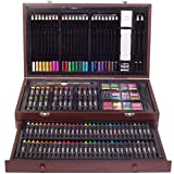ZagGit 143 Piece Deluxe Art Supplies Set in Portable Wooden Case | Crayons, Oil Pastels, Colored Pencils, Watercolor Cakes, Sharpener, Sandpaper & Much More!