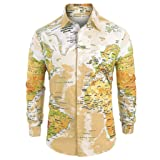 Letdown_Men tops Men Button Down Shirts Long Sleeve Graphic World Map Print Slim Fit Shirt Top Blouse Yellow (Color: Yellow, Tamaño: Large)