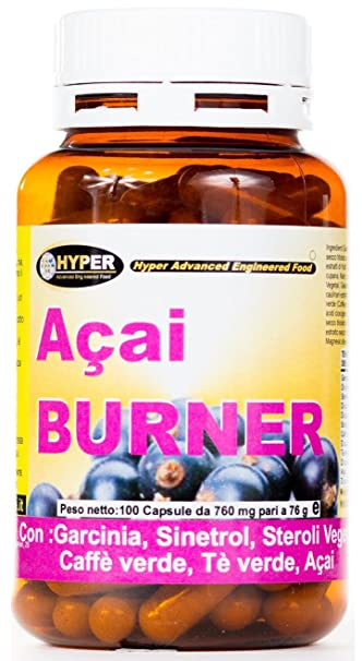 Acai Burner Fat Burner Abnehmen, Termogenco mit: Garcinia, Sinetrol, Pflanzensterinen, grunem Kaffee, gruner Tee, Açai 100 Kapseln gr 76