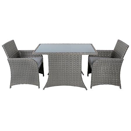Aruba Rattan Wicker Balcony Bistro 2-Seat Garden Furniture Table & Chairs Set