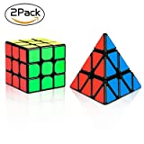 Olicity Speed Cube Set, Pyramid Cube Sticker Magic Cube Set of MOYU MF3RS 3x3x3 Smooth Puzzle Cube with Gift Box