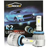 R2 COB H11 H8 H9 H16 8000LM LED Headlight Conversion Kit, Low beam headlamp, Fog Driving Light, HID or Halogen Head light Replacement, 6500K Xenon White, 1 Pair- 1 Year Warranty