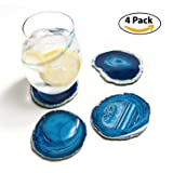 Amethya Natural Sliced Agate Coaster, Cup Mat for Drinks with Rubber Bumper, Set of 4 (Color: Blue)