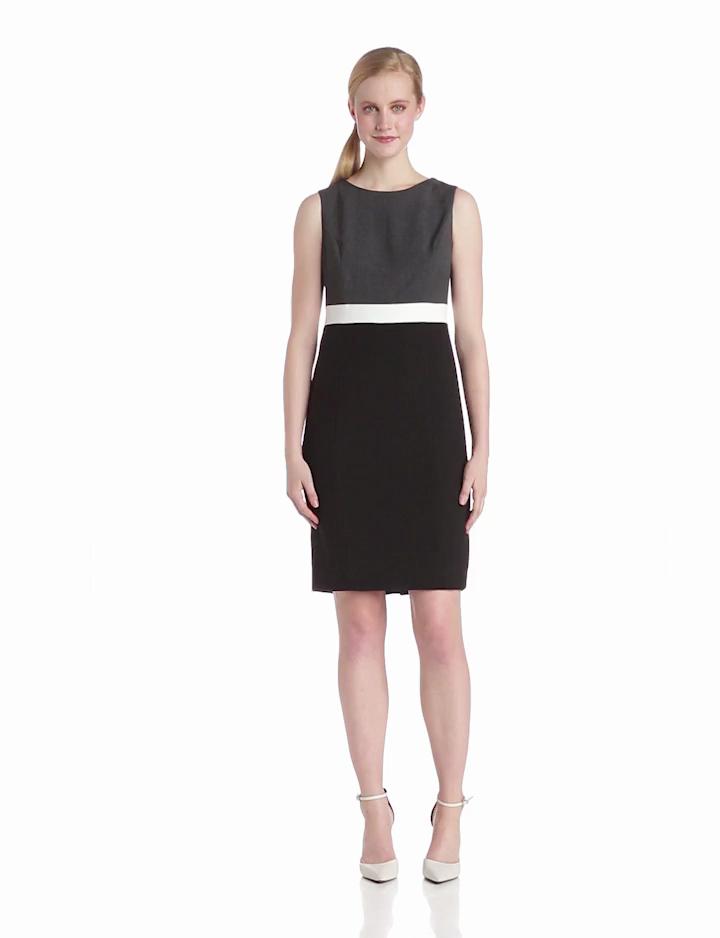 Jones New York Womens Color Block Sheath Dress, Black/Charcoal, 2