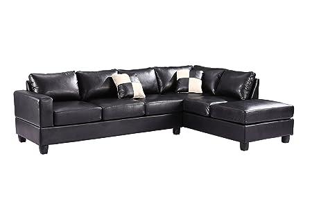 Glory Furniture G303B-SC Sectional Sofa, Black, 2 boxes