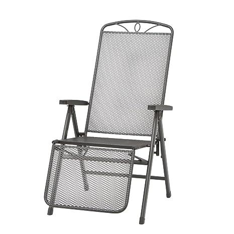 Siena Garden 120443 Elda - Silla reclinable de jardín (acero y plástico), color gris