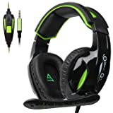 Supsoo G813 Gaming Headset 3.5mm Wired Over Ear Noise Cancelling Volume Control Gamer Headphones with Microphones Rotatable for PC/Mac/Ps4/New Xboxone/Table/Phone(Black Green)