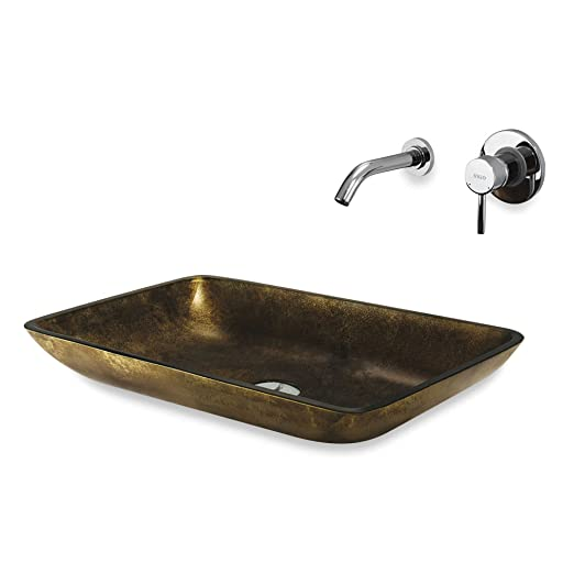 Vigo Copper Rectangle Vessel Sink With Dual Faucet