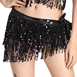 MUNAFIE Women's Belly Dance Hip Scarf Performance Outfits Skirt Festival Clothing Black