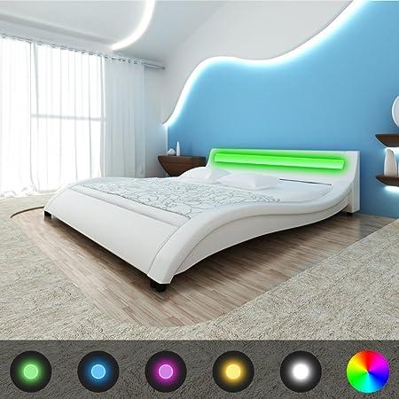 vidaXL Letto in pelle artificiale 180 cm con onda LED - colore bianco