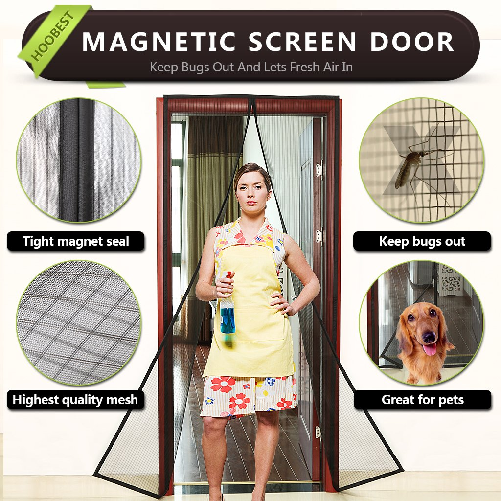 "Hoobest Magnetic Screen Door-Heavy Duty Mesh Screen & Full Frame Velcro-Keep Bugs out,Let Fresh Air In.Screen Door Mesh is Bulit Tough,Close Automaticlly.Fits Door Openings Up to 34""x82"" Max. (Black)"
