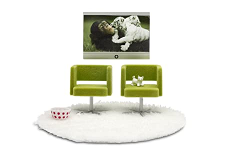 Lundby - L609028 - Maison de Poupée - TV + Fauteuils - Stockholm