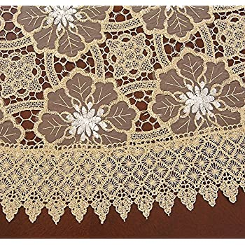 Simhomsen Beige Embroidered Lace Tablecloth 72 Inch Round