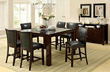 7 pc Astoria II dark cherry finish wood contemporary style counter height dining table set with 10 mm black tempered glass table top