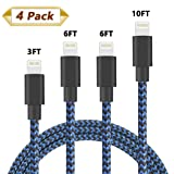 HokoAcc iPhone Charger Lightning Cable 4Pack 3FT 6FT 6FT 10FT Nylon Braided 8 Pin Lightning to USB Charger Cord for iPhone X iPhone 8 8 Plus 7 7 Plus 6s 6s Plus 6 6 Plus iPad iPod Nano (Blue)