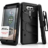 LG V20 Case, Zizo [Bolt Series] with FREE [LG V20 Screen Protector] Kickstand [12 ft. Military Grade Drop Tested] Holster Belt Clip - Case for LG V20 Black/Black  (Color: Black/Black)