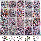 TOPBRIGHT® Lot 110 PCS Body Jewelry Piercing Eyebrow Navel Belly Tongue Lip Bar Ring Mixed with box