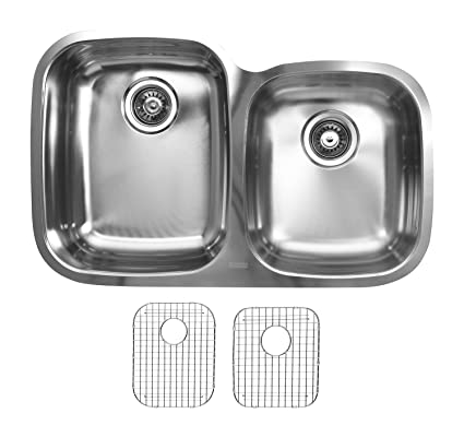 Ukinox D376.60.40.10L.G Modern Undermount Double Bowl Stainless Steel Kitchen Sink with Bottom Grids