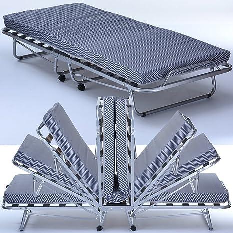 Brandina Pieghevole con Materasso singolo Comfort 80 x 200 cm - Letto Ospite Pieghevole con struttura letto e rotelle in ferro stabili