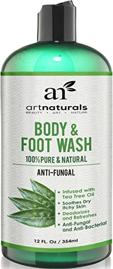 Artnaturals Antifungal Soap with Tea Tree Oil - 100% Natural Best Foot and Body Wash 12 Oz, Helps with Nail Fungus, Athletes Foot, Ringworm, Jock Itch & Body Odor - Kills Bacteria & Relieves Itching