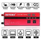 2000W Car LED Inverter 60HZ DC 12V 24V to 110V AC 4 USB Ports Charger Veicular Car Power Inverter Dual Display Inversor (Color: Red, Tamaño: 30.cm*10cm*5.5cm)