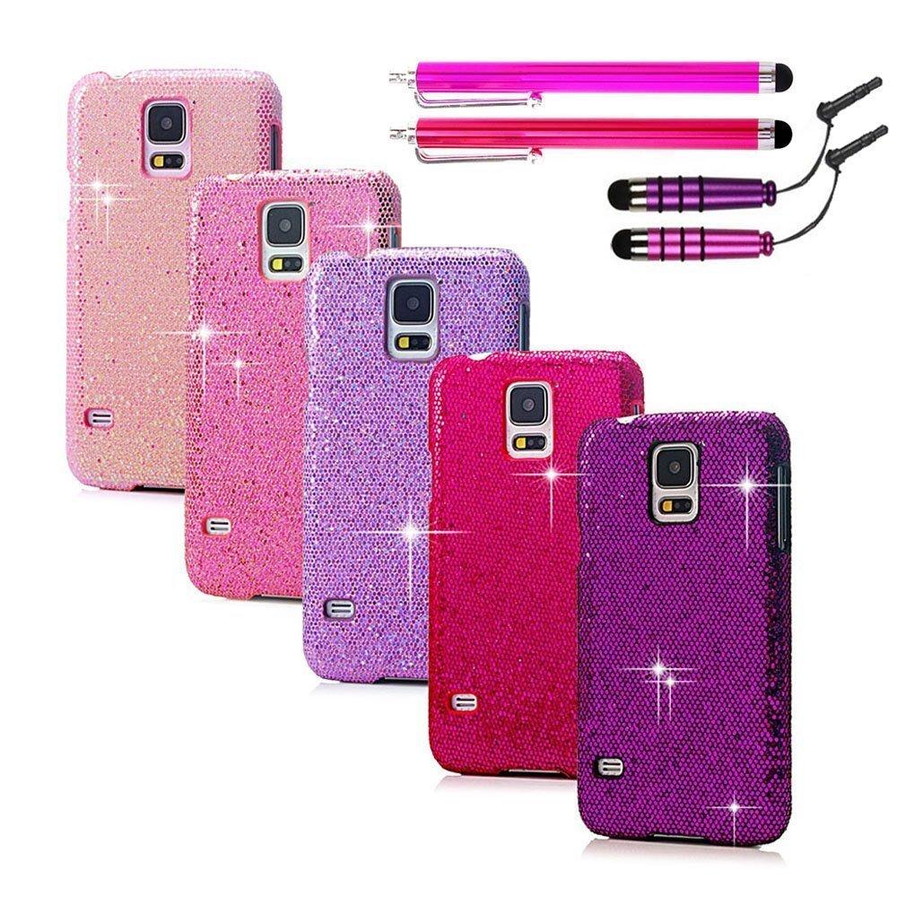 Flesh Pink Light Purple Red Pink Purple Bling Diamond Stripe Hard Cases Cover for Samsung Galaxy S5 Sv I9600