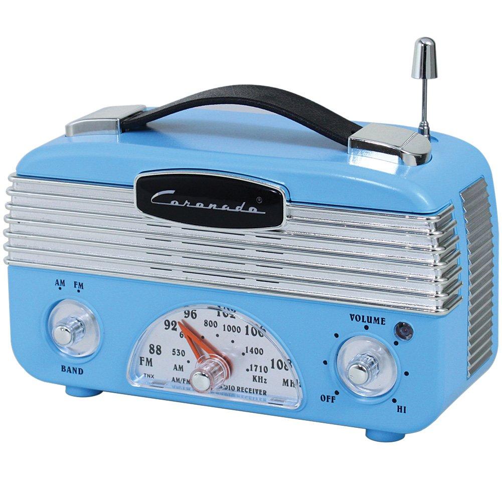 Coronado Vintage Style Retro Blue AM/FM Portable Radio w/ Leatherette Handle 0