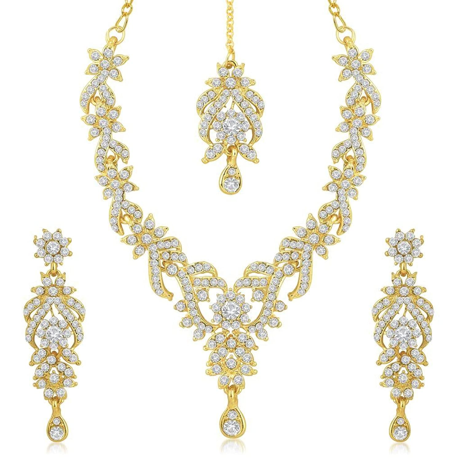 Sukkhi Gold Plated Australian Diamond Choker Necklace With Drop Earrings  And Mangtikka Set Or Women