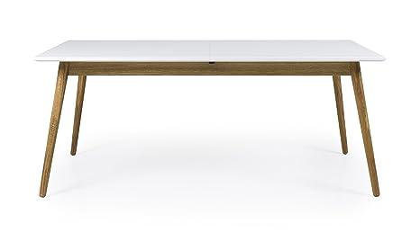 Tenzo Dot Extendable Designer Dining Table, MDF, White/Oak, 75 x 180/240 x 90 cm
