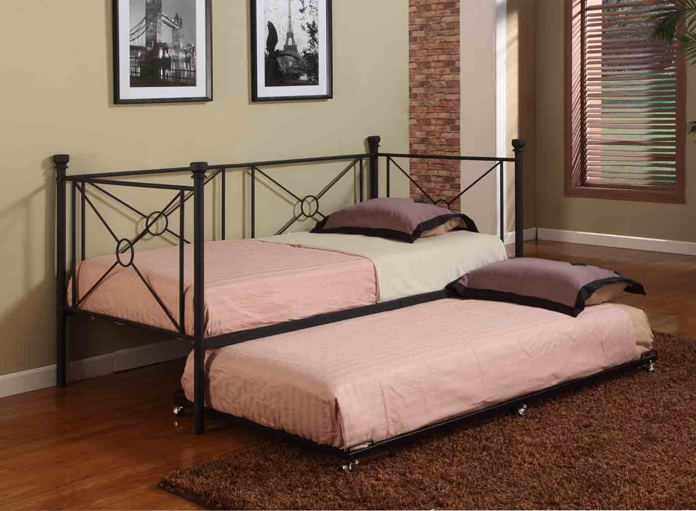 texture black metal twin size day bed daybed frame with rails trundle new ebay. Black Bedroom Furniture Sets. Home Design Ideas