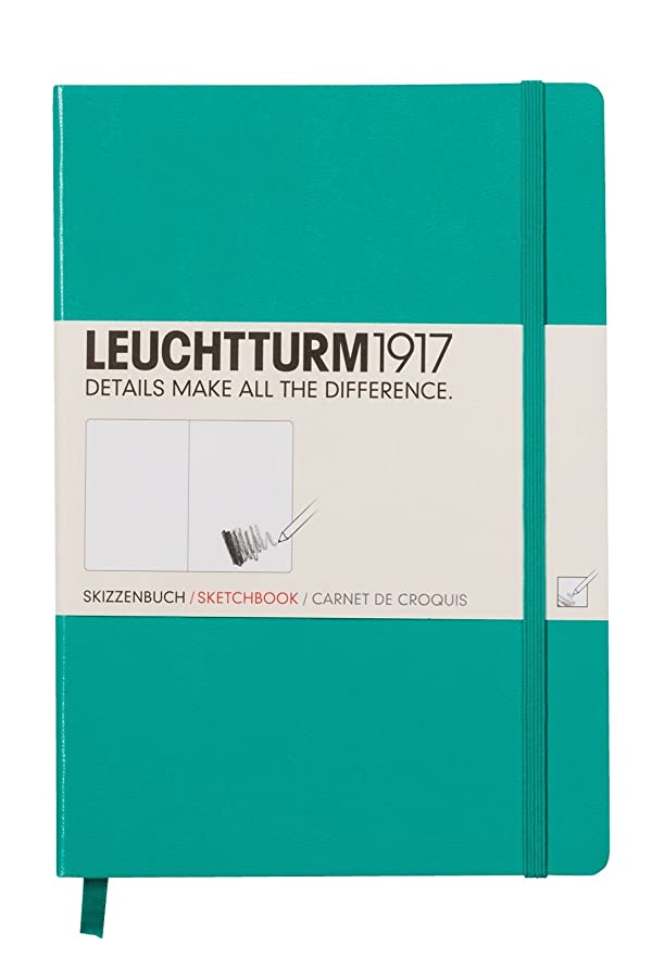 LEUCHTTURM1917 344999 Sketchbook Medium (A5) with White, Extra Strong 180 g/sqm Paper, 96 Pages, Emerald (Color: Emerald, Tamaño: Medium (A5))
