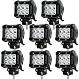 JAHURD [Pack of 8] x18w LED Light Bar Spot, 4 inch offroad 4x4 driving Fog Light Led Pods Cube Work lights Truck Boat Ford Jeep wrangler jk ATV SUV 12V 24V Waterproof