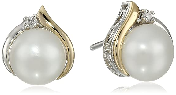 S-G-Sterling-Silver-and-14k-Yellow-Gold-Freshwater-Cultured-Pearl-7-mm-with-Diamond-Accents-Stud-Earrings