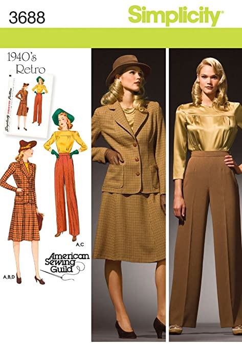 1940s Teenage Fashion: Girls  1940s Retro Misses Blouse Skirt Pants Lined Jacket Sizes 10-12-14-16-18                               $6.95 AT vintagedancer.com