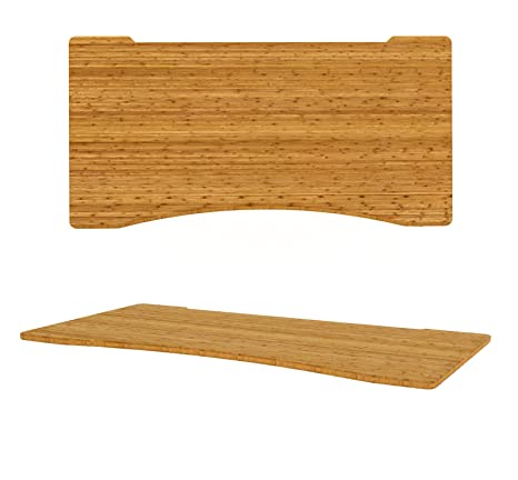 Ergonómico escritorio forma madera de bambú carbonizado | curvado delantera Cut Out | auténtica bambú, no chapado, marrón, 1600 x 800mm Ergo Cut-Out
