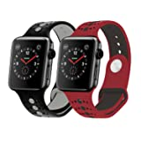 Sport Apple Watch Band 38mm 42mm Women Men, Soft Silicone Apple Watch Band Strap Replacement Iwatch Band for Apple Watch Nike+, Series 3, Series 2, Series 1 (B# Black+Grey/Red+Black 2-Pack, 42mm) (Color: B# Black+Grey/Red+Black 2-Pack, Tamaño: 42mm)