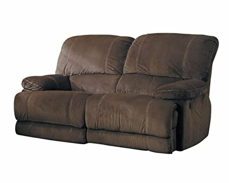 Homelegance 9722-2PW Upholstered Power Double Reclining Love Seat, Dark Brown, 100-Percent Polyester Fabric